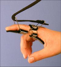 #18  P.I.P. Extension--Malleable finger platform and M.P. extension for improved function. Provided with optional use straps to secure distal portion of finger.